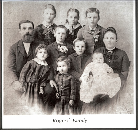 The George Rogers family, circa 1880, considered the father of downtown. The old ranch house George Rogers built in 1880, now site of City Hall.