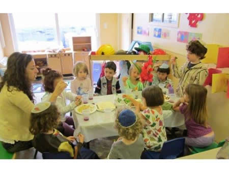 Preschool children celebrate Passover at Chabad.