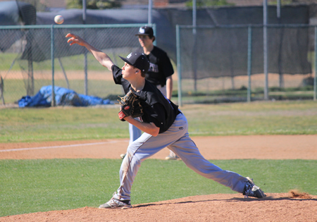 Sophomore Carter Monacell pitched a complete game shutout against Oxford Academy on Monday, March 31, to run the Breakers record to 3-0 at the Anaheim Lions Tournament.