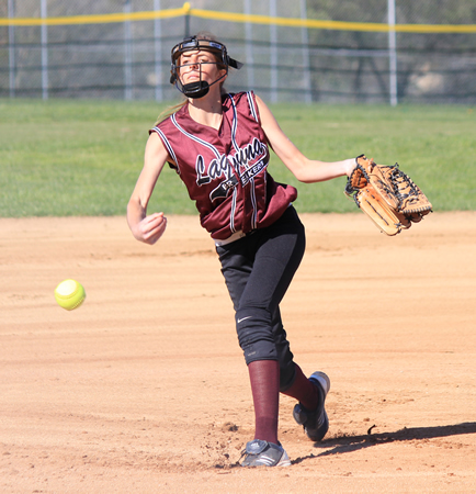 : Junior Halle Redfearn deals a pitch against Newport Harbor at the Breakers home field on Tuesday, April 1.