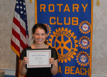 Makenna Pitz displays her award from the Rotary Club.
