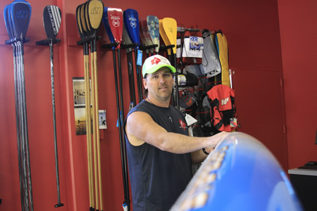 Steve Owen in his Laguna Canyon shop, SUP to You, which he co-owns with Ryan Okon. They testified at Wednesday's hearing over SUP regulation.
