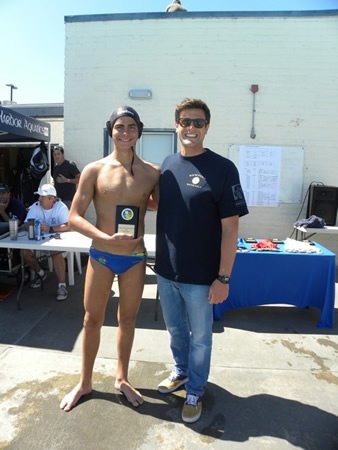 Tournament individual winner Sebastian Jacobs with Stefano Ragosa, Newport Beach's U14 water polo coach.