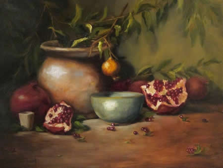 "Ferrial's ""Pomegranates and Aqua Bowl"" is part of the Artist Eye exhibition."