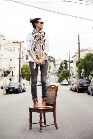 Stylist Shannon O'Neil clowns around at a photo shoot in San Francisco. She's returned home to start her own design shop.