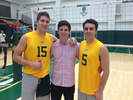 Laguna Beach High School graduate Weston Barnes, center, with George Mason University men's volleyball team mates. Photo courtesy GMU