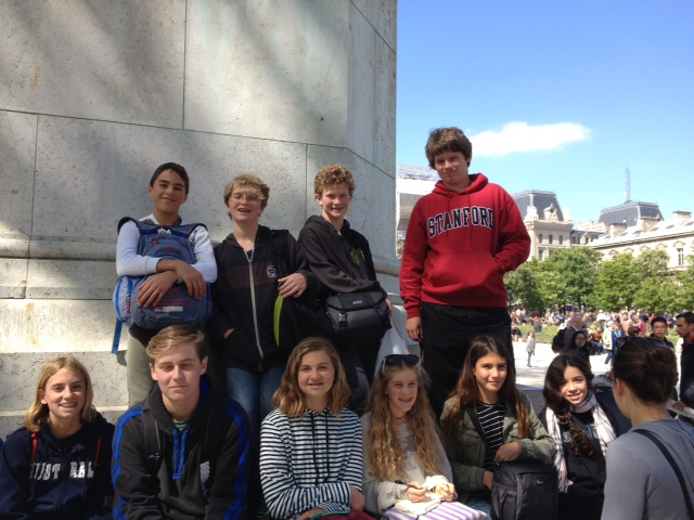Garrett Tyler and some of his fellow students from Thurston Middle School enjoy Paris' Notre Dame cathedral led by teacher Randi Beckley and chaperones. Photo courtesy of Jeff Tyler