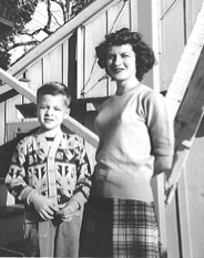 Matriarch Betsy Haneline in 1949 with her son, Loren Jr., also known as Bill, who ran Vacation Village for two decades, helped by his children.