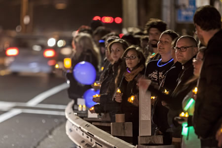 A vigil last Thursday, April 10, along Laguna Canyon Road marked the death of Laguna College of Art and Design student Nina Fitzgerald. Photos by Mitch Ridder