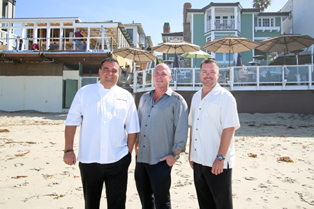 From left, Chef Rainer Schwarz, John Nye and Colby Durnin, of the Sentinel team that manages the Pacific Edge Hotel, and is now making over the former Beach House restaurant. Photo by Jody  Tiongco.