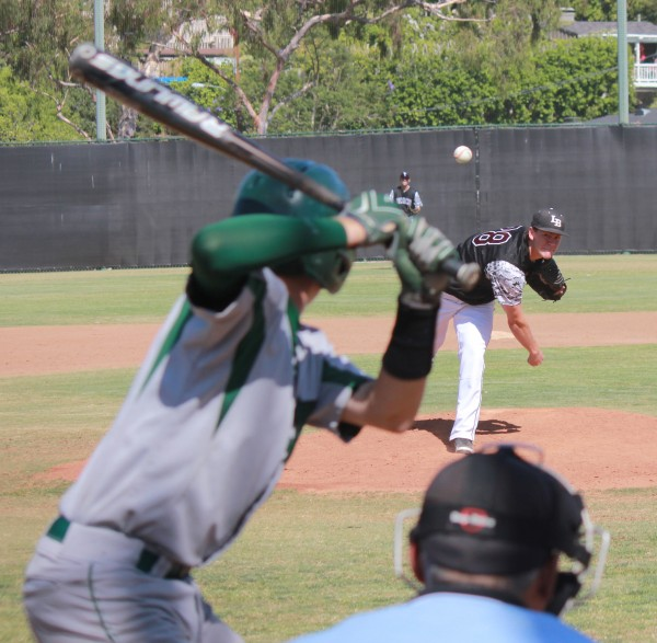 Grant Wilhelm picked up his school record 11th win of the season at home against Costa Mesa on Thursday, May 15. Photo Credit: Robert Campbell