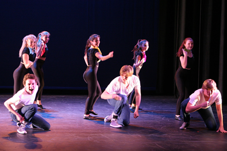 "The LBHS dance show performs May 2 and 3 at 7:30 in the Artists' Theatre. Performing in ""You're the One that I Want,"" from left, Noah Pattillo, Danielle Glick, Allie Ricci-Fisher, Maya Keces, Zane Fair, Sarah Oberndorf, Ellie Scharf and Connor McCombs. Tickets are $15, $8 for students, and are available from 6 p.m.. Photo by Susan Elliot Richardson."