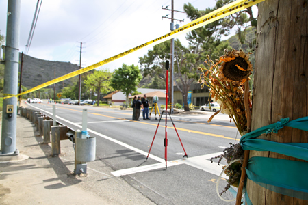 The Canyon road was closed in May 2014 to investigate the death of student Nina Fitzpatrick, struck by a car at a crosswalk. City officials now are trying to improve the road's safety for pedestrians and cyclists. Photo by Jody Tiongco