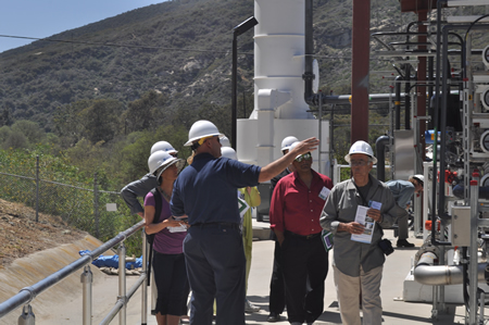 Water Production Supervisor Steve Dishon describes a new water reclamation facility during a tour at the plant's was dedication in Aliso Canyon last week.