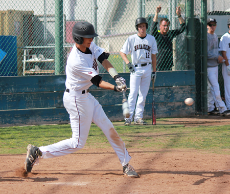 Preston GrandPre connects for a two-run double in the second to put Laguna up 3-2 against Godinez at home on Tuesday, May 6.