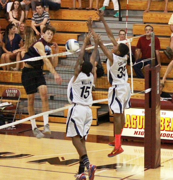 Jack Wyett blasts a kill past the La Sierra defense during the Lagunas first round CIF win at home on Thursday, May 15. Photo Credit: Robert Campbell