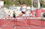 :  Coco Putnam blows the field away in the 300 hurdles on her home track at Orange Coast league finals, Thursday, May 8.