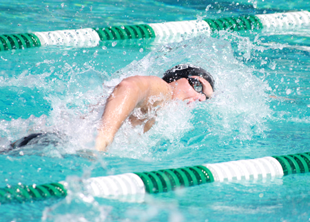 Erik Juliusson swam a 1:45.45 to set an Orange Coast League finals record in the 200 freestyle at Costa Mesa High, Thursday, May 8.