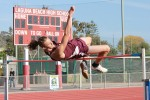 "Kailar Pike clears 6'2"" to win the high jump at Orange Coast league finals, Thursday, May 8."