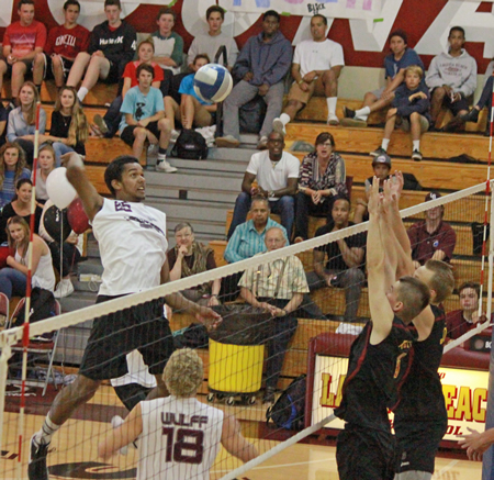 Noah Blanton goes up for one of his 15 kills in a 3-1 win at home on senior night Wednesday, May 7, against second-ranked Esperanza