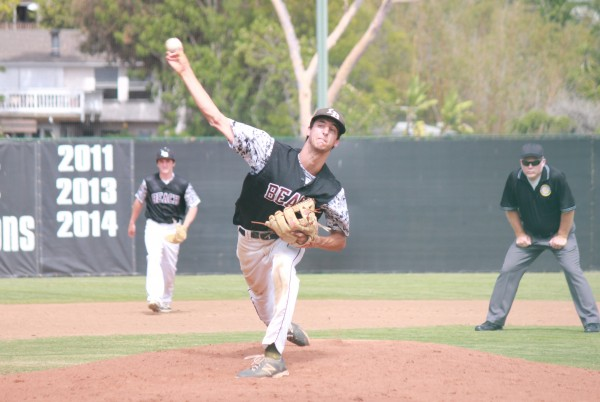Senior Preston GrandPre tosses a complete game, 3-hit shutout, as Laguna beat Alhambra 2-0 in the second round of CIF playoffs on Tuesday, May 27 at Skipper Carrillo Field. Credit: Robert Campbell