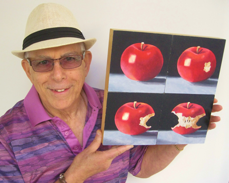 Painter Gerald Schwartz submission is a study of an apple, shown in progressive states of being eaten.