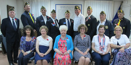 The Auxiliary officers, from left, Diane Connell, Sandi Werthe, Jean Law, Debbie McIntosh, Toni Abbod and Elizabeth Tomlin; Legion officers, from left, Bill Sandlin, Josh Bammer, Bob McIntosh, Dave Connell, Jim Marcosa, Richard Moore, Frank Daniel, Norman Abbod and Don McIntosh.