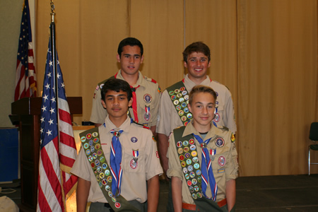 From top, clockwise, Max Brown, Chad Kanner, Mason Reed and Jeffrey Spitz, newly minted Eagle Scouts