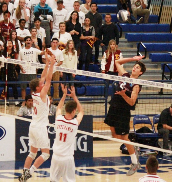 Senior Jack Wyett goes up for one of his 21 kills during Laguna's 3-2 loss to Esperanza in CIF finals at Cerritos College, Saturday, May 25. Credit: Robert Campbell