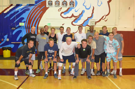 Alumni prevailed 19-25, 23-25, 25-14, 25-18, 15-11 and lead the series 24-6-1 after the 31st annual match on Friday, May 9, at Dugger Gym. Back row, from left, Beau Bianchi '94, Everett Blanton '84, Scottie Chapel '10, Robbie McKnight '11, Seth Morris .09, Wyatt Kirkland '12, Xander Olson '06, Kurt Blanton '95, Travis Woloson '10 and Jason Kimball '04; front, Hava Davis '93, Wade Binley '75, Dave Sorrels '64, Lance Stewart '81, John Pfluger '95, Malcom Gapp '88 and Wilson Knapp '09 .Photo by Neil Olson