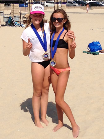 Beach volleyball players Peri Brennan and Hallie Carballo