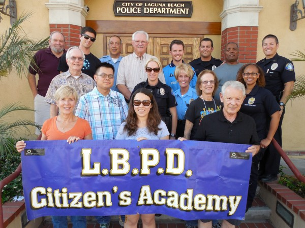 Citizens Academy graduates, from top left to right: Charle Barr, RJ McDougall, PSO Fallah, Mike Anderson, Michael Thomas, Cpl. Meadows, Ernest Hackmon, Capt. Lenyi, Matt Luczko, Than Duong, Cpl. White, Police Volunteer Roberts, Barbara Ring, CSO Hernandez, Christine Montonna, Brenda Mancilla, Gary Hess, Robert Zur Schmiede (not in picture).