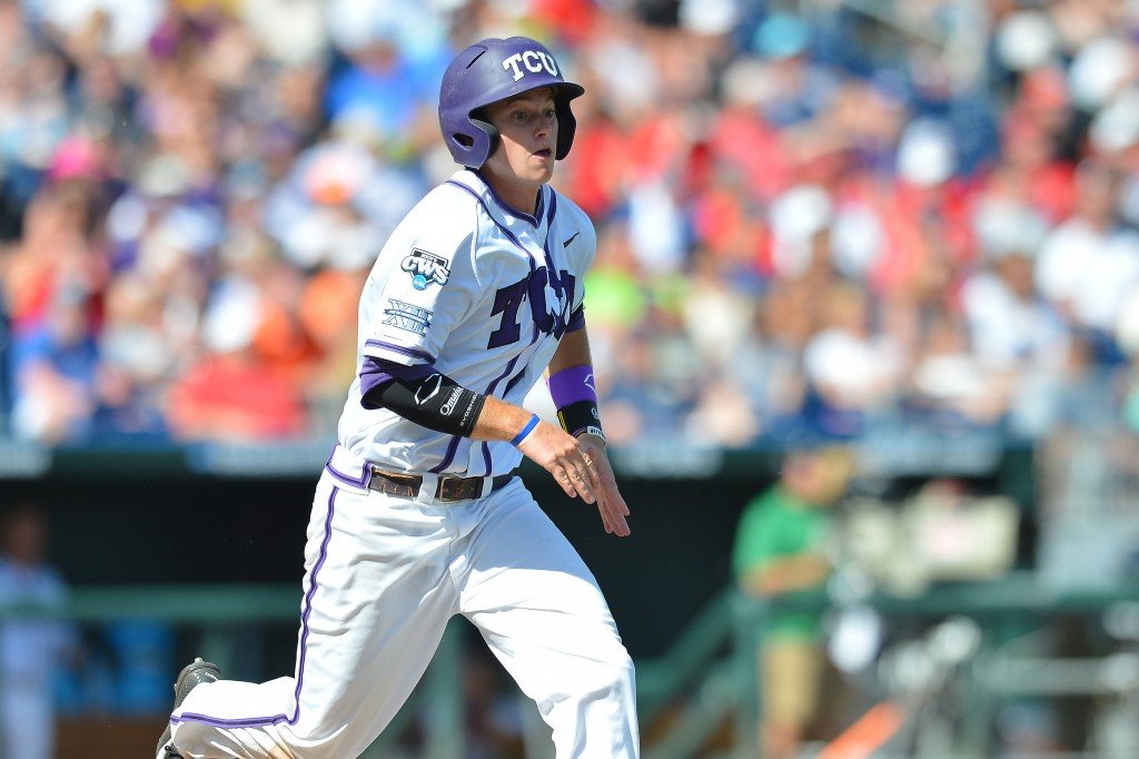 Texas Christian University shortstop Keaton Jones competes Tuesday in the 2014 College World Series in Omaha, NB.Photo by Mark Clements