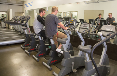 The Hexburg Family Foundation's gift refurbished LBHS's weight room facility with new cardio bikes and treadmills.