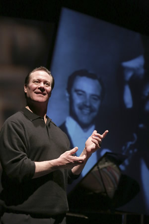 "Chris Lemmon stars as his Academy Award-winning father in the West Coast premiere of ""Jack Lemmon Returns,"" adapted and directed by Hershey Felder and now playing at Laguna Playhouse through June 22. Photo by Charles Osgood"