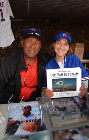 Tammy Lechner, right, author of a baseball book, with player Ferggie Jenkins.
