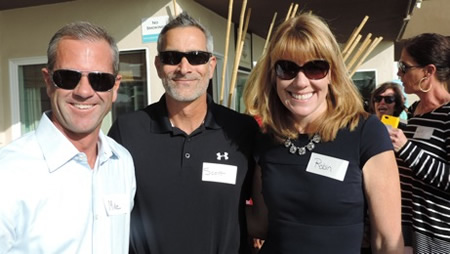 Firebrand Media's Scott Sanchez, center, and  Schoolpower's Mike Gilles and Robin Rounaghi during a recent business appreciation party.