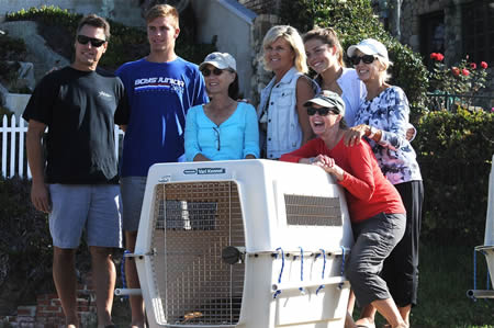 Some of the Alter clan gather to watch the release of revived sea lion named after the family patriarch.