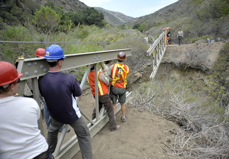 One of the two bridges reconstructed before the Emerald Canyon Trail could reopen. Photo courtesy of Irvine Ranch Conservancy.