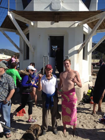 Chris Garau with his grandfather, an early Laguna Beach lifeguard.