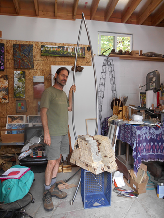 "Photo by M ""Charlie"" Ferrazzi Sculptor Troy Poeschl's work space looks more like a machine shop than an art studio."