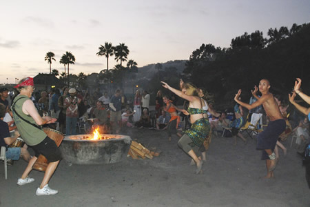 Dancers keep up the beat at a Full Moon Drum Circle in 2007.