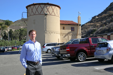 Deputy City Manager Ben Siegel recently fielded fervent entreaties from residents to restore the historic sewer digester, behind him, that sits on the proposed village entrance site.Photo by Jody Tiongco