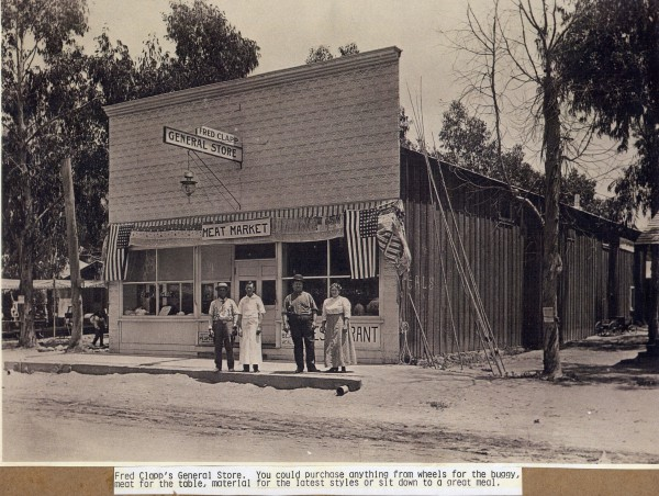 Before her family moved to Laguna Beach, Blanche Clapp Smith was an infrequent visitor between 1912 and 1920 to her uncle Fred Clapp, who owned this general store on Forest Avenue. Its inventory included buggy wheels, meat and fabric. Photo courtesy Laguna Beach Historical Society