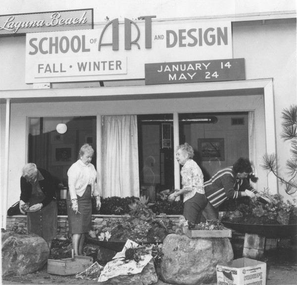 Early supporters beautifying one of the school's original locations around 1963.
