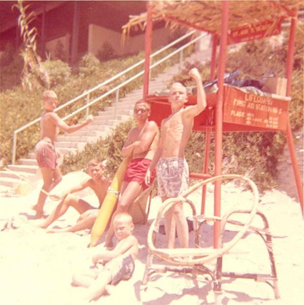 Dale Ghere lifeguarding at St. Ann's Beach, 1961