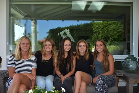 From left, Callista Wulff, Regan Caraher, Christine Johnson, Shea Metz and Carmen Nichols, founding board members at LBHS.