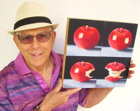 Gerald Schwartz with his donation to the Art-to-Go collection. Photo by Mike Tauber.