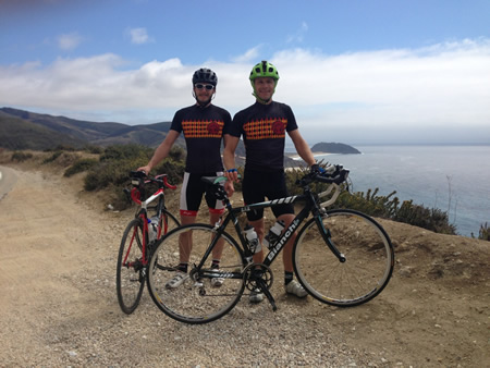 Ryan O'Malley, left, and Max Isles, stop for a view break about 20 miles south of Carmel on Route 1.