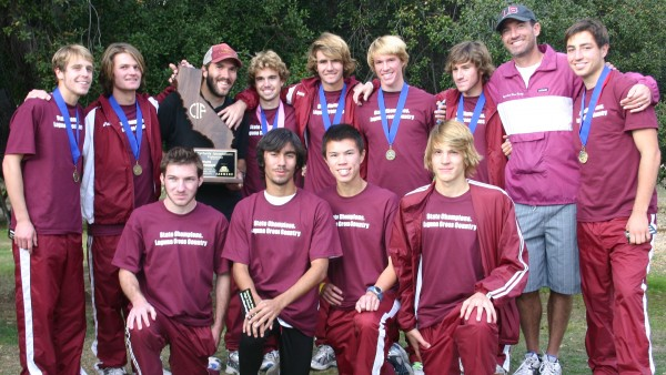 Dave Brobeck, second from right, with his final team at their final meet, the 2009 State championship.
